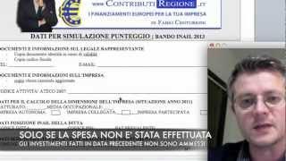 Finanziamento a fondo perduto, bando inail 50% Prossima scad marzo 2014.Video di Fabio Centurioni